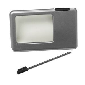 LED Credit Card Sized Magnifier with Stylus Pen